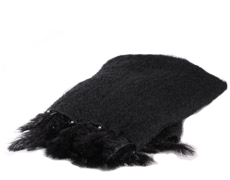 Mohair Blanket Single Feathers Black