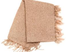 Mohair Blanket Single Feathers Mushroom