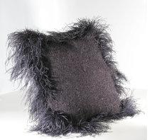 Cushion Mohair Black feathers Press