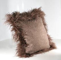 Cushion Mohair Brown Feather L Press