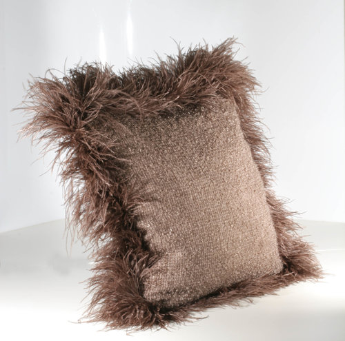 Cushion Mohair Brown Feather L Press