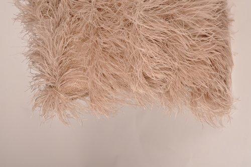 Cushion Mohair Feathers Mushroom L