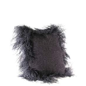 Cushion Mohair Feathers Black