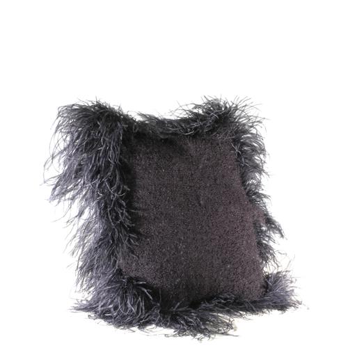 Cushion Mohair Feathers Black